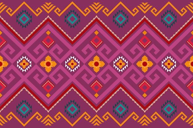 Asiatisches rosa lila ethnisches geometrisches orientalisches nahtloses traditionelles blumenmuster. design für hintergrund, teppich, tapetenhintergrund, kleidung, verpackung, batik, stoff. stickstil. vektor.