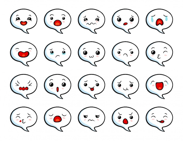 Asiatisches süßes emoji-set