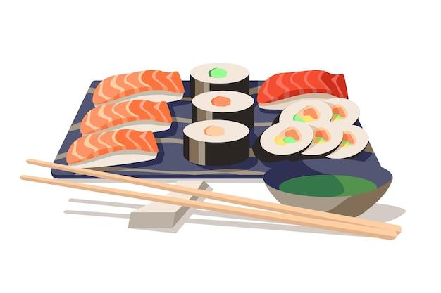 Asiatisches sushi an bord mit holzstäbchen-vektor-illustration