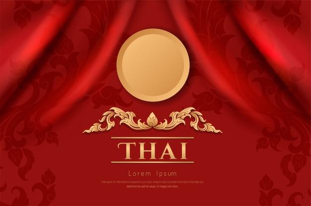 Asiatisches traditionelles kunstdesign auf roter stofffarbe