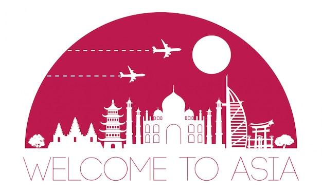 Asien berühmte wahrzeichen silhouette