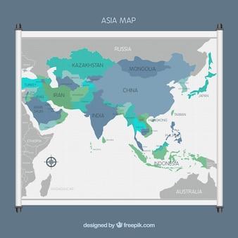 Asien-kartenhintergrund in der flachen art