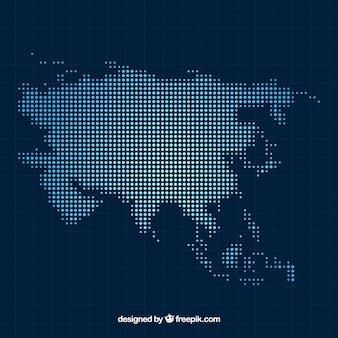 Asien-kartenhintergrund mit punkten