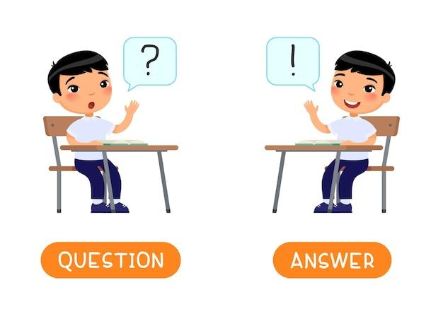 Ask und antwort antonyme wortkarte illustration
