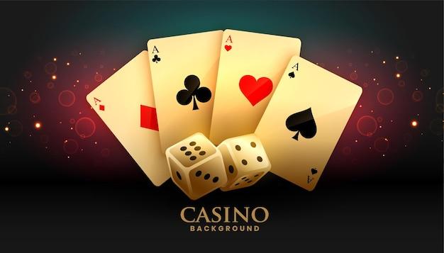 Ass-karten und würfel-casino-hintergrund