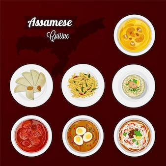 Assamesische kücheansicht der köstlichen küche für restaurant.