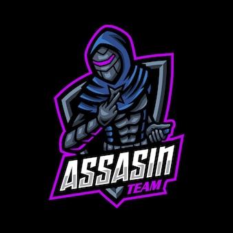 Assasin esport logo maskottchen gaming