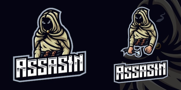 Assasin gaming maskottchen logo vorlage für esports streamer facebook youtube