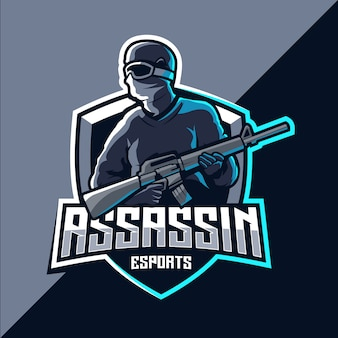 Assassin esport maskottchen logo design
