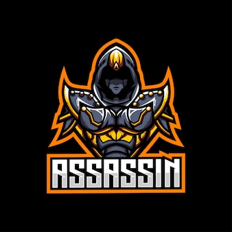 Assassin gaming charakter schatten maskottchen