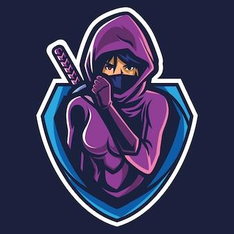 Assassin girl esport logo illustration