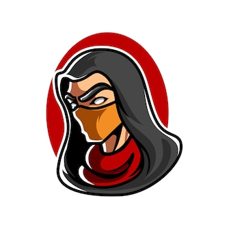 Assassin head e sport maskottchen logo