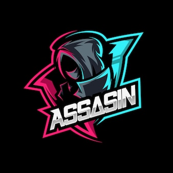 Assassin ninja mascot logo illustration