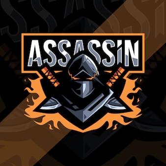 Assassine maskottchen logo esport vorlage design