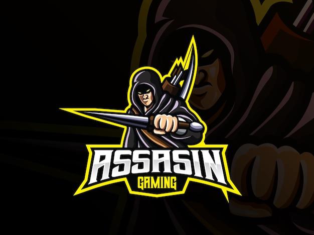 Assassine maskottchen sport logo design