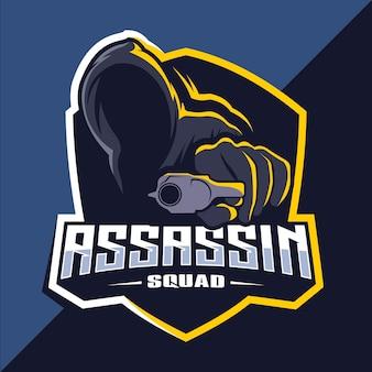 Assassine mit waffen maskottchen esport logo design