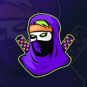 Assassine oder ninja mit zwei schwertern für logo esport gaming.