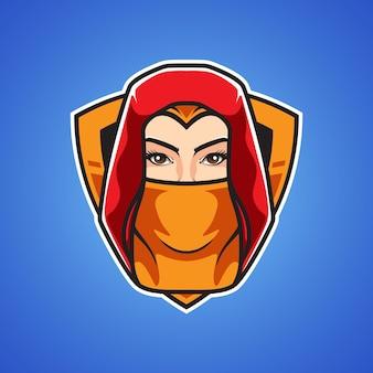 Assassins girl head sport logo