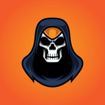 Assassins skull e sport maskottchen logo