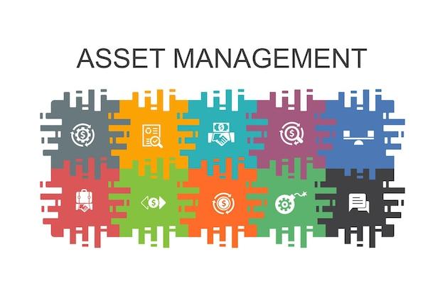 Asset-management-cartoon-vorlage mit flachen elementen. enthält symbole wie audit, investition, geschäft, stabilität