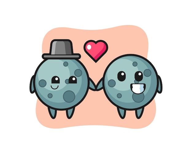 Asteroiden-cartoon-charakterpaar mit verliebtheitsgeste, süßem stildesign für t-shirt, aufkleber, logo-element