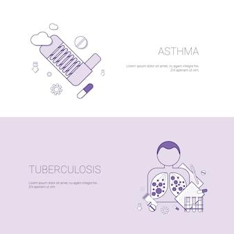 Asthma und tuberkulose-krankheit-konzept-schablonen-fahne