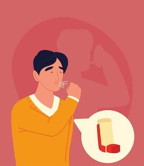 Asthmatischer mann, der mit inhalator hustet