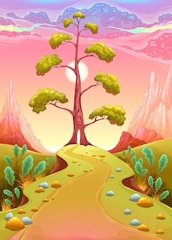 Astral landschaft in den sonnenuntergang vector cartoon illustration