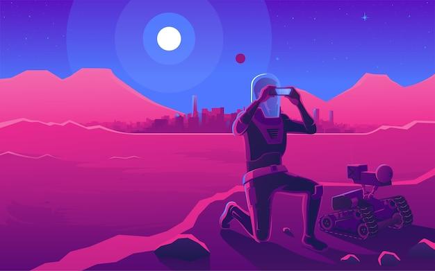 Astranaft und ein roboter auf einem anderen planeten. sonnenuntergang in einer anderen welt. retro-illustrationszeichnung der comic-cartoon-pop-art.