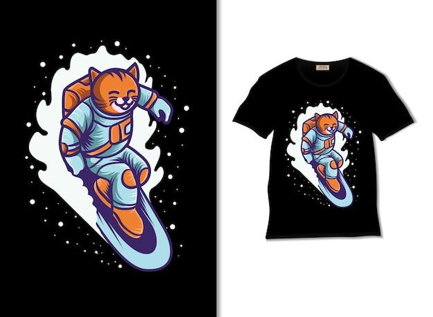 Astrocat surfen im weltraum illustration mit t-shirt-design