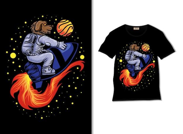 Astrodog weltraumabenteuer mit raketenillustration mit t-shirt-design