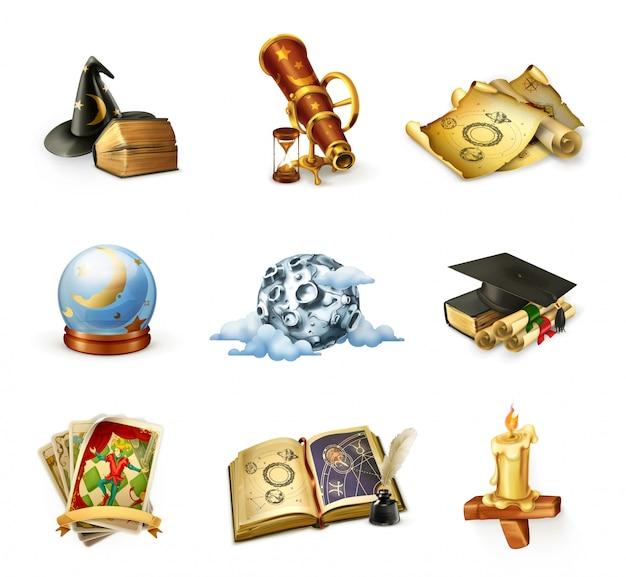 Astrologie, reihe von icons