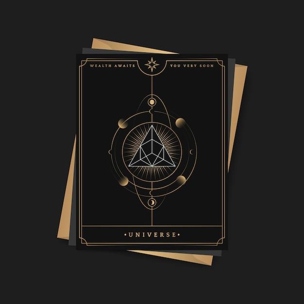 Astrologische tarotkarte der geometrischen pyramide