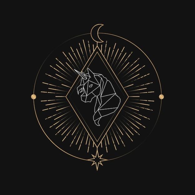 Astrologische tarotkarte des geometrischen einhorns