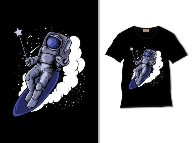Astromagisches surfen in der himmelsillustration mit t-shirt-design