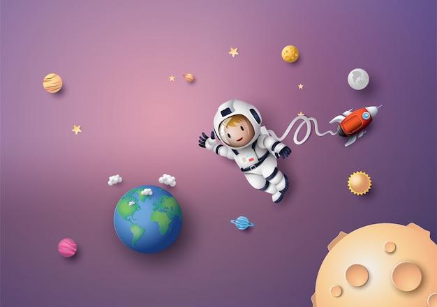 Astronaut astronaut, der in der stratosphäre schwimmt. papierkunst und handwerksstil.