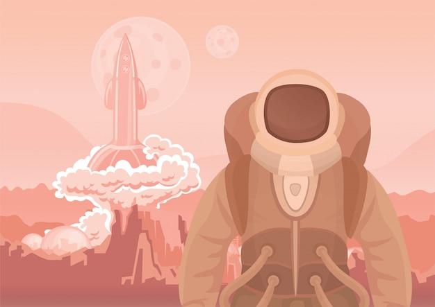 Astronaut auf dem mars oder einem anderen planeten. eine rakete sprengt ab. raumfahrt. illustration.