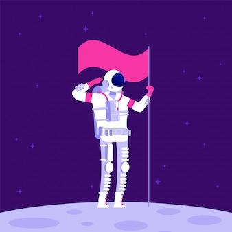 Astronaut auf dem mond. holging flagge des kosmonauten auf leblosem planeten im weltraum.