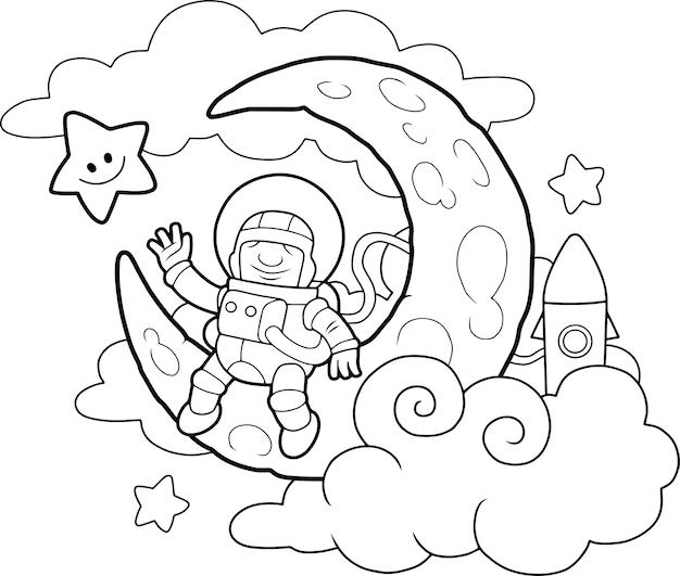 Astronaut auf dem mond Premium Vektoren