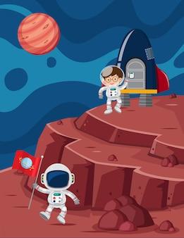 Astronaut auf dem planeten gelandet
