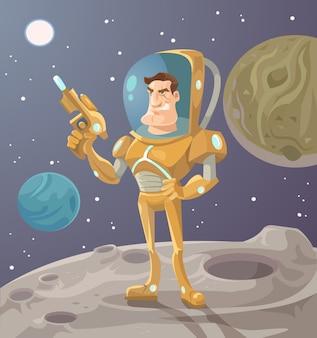 Astronaut auf dem planeten.