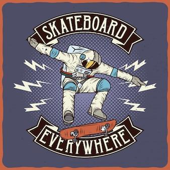Astronaut auf dem skateboard