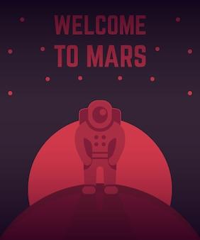 Astronaut auf einem anderen planeten, menschliche mission zum mars, interplanetare reisen, weltraumforschung