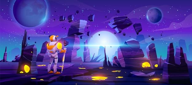 Astronaut auf fremdem planeten in der fernen galaxie