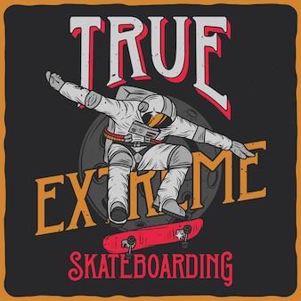 Astronaut auf skateboard