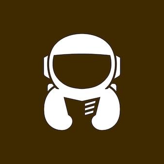 Astronaut buch liest zeitung negativraum logo vektor icon illustration