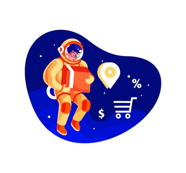Astronaut delivery service, der kasten-illustration hält