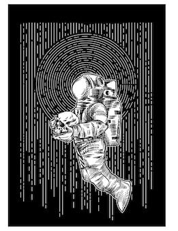 Astronaut den schädel in die hand nehmen