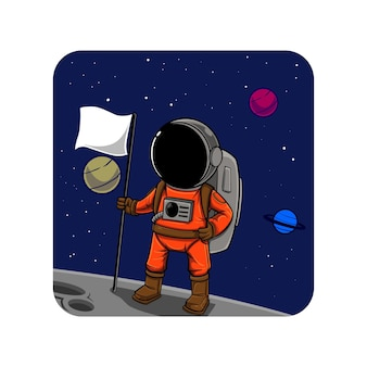 Astronaut, der auf dem mond steht und eine flagge hält