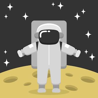 Astronaut, der auf der mondillustration landet